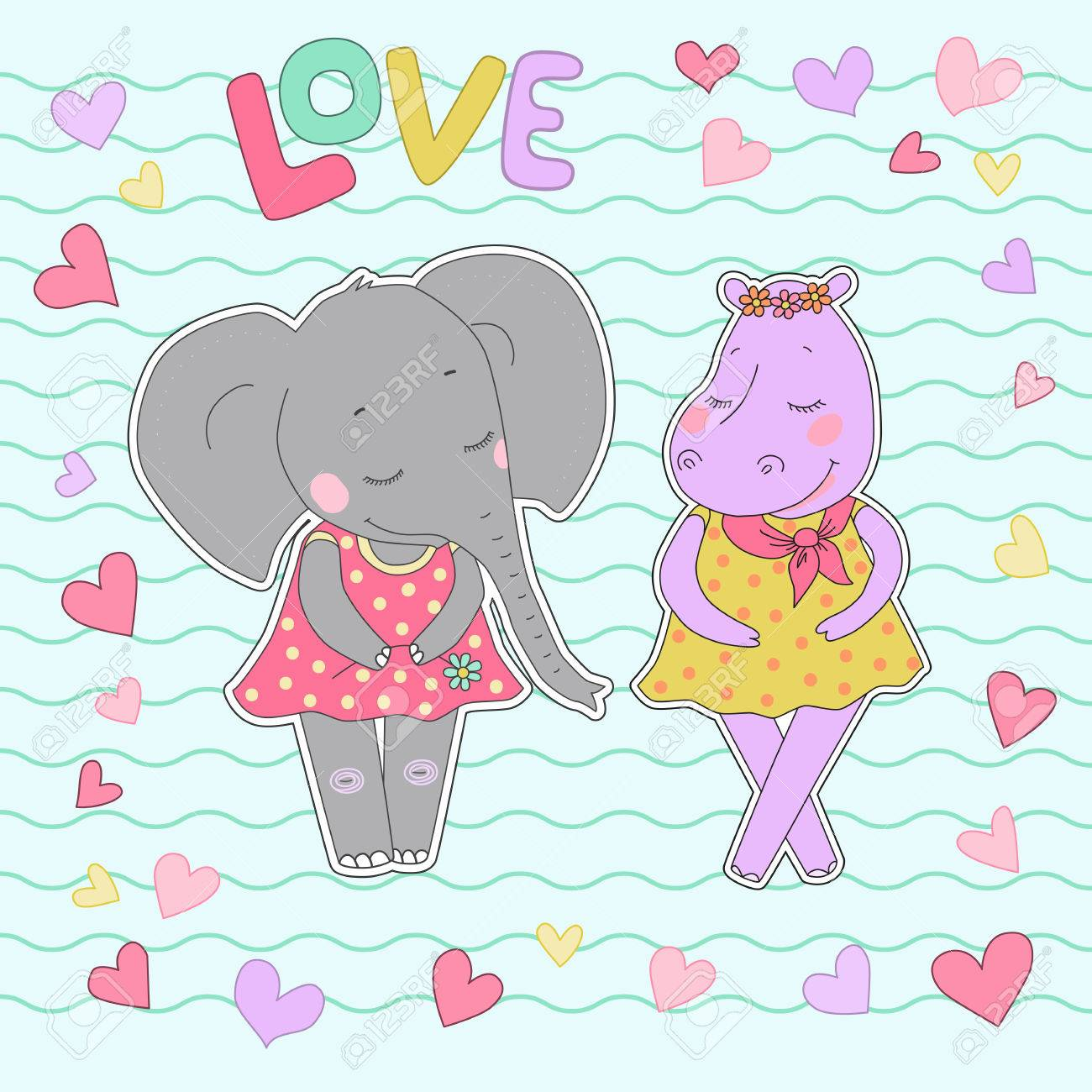 Hippo And Elephant Girls With Closed Eyes Lovely Hippopotamus