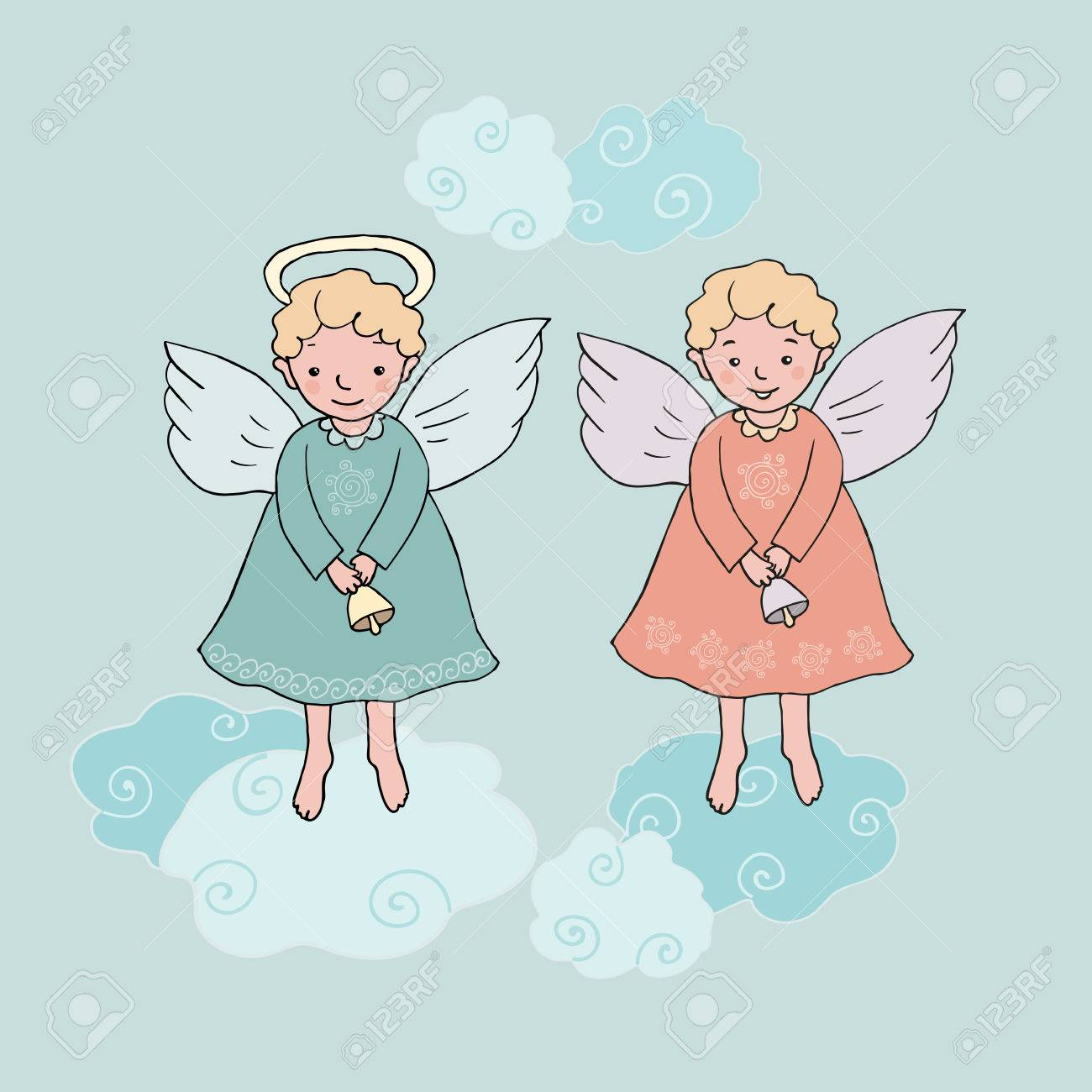 Christmas Angels.Hand Drawn Cute Christmas Angels With Bells In Cartoon Style