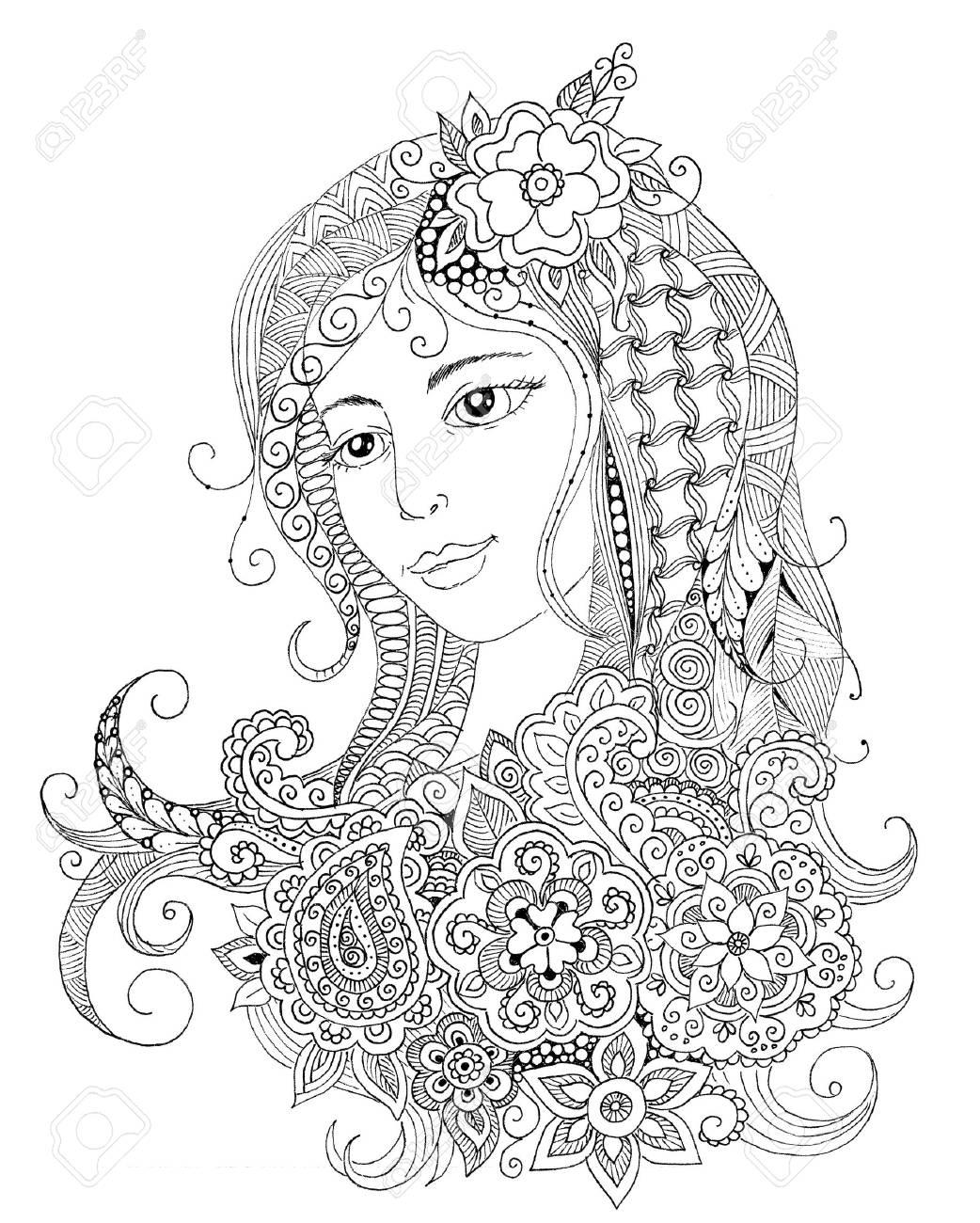 Portrait Dessiné à La Main Dune Belle Fille à Zentangle Style De Gribouillage Imprimer Pour Le Livre De Coloriage Adulte Coloriage Illustration