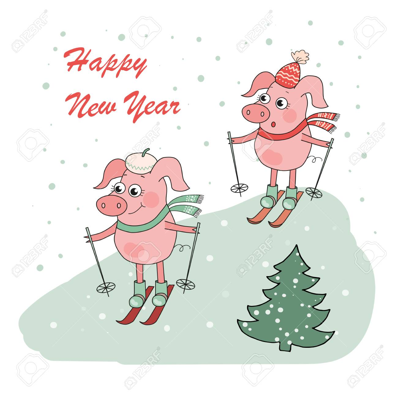 christmas and happy new year card with two small cartoon little pigs skie stock vector