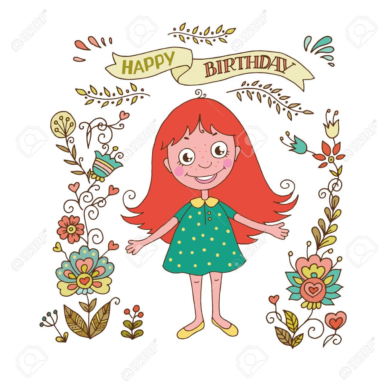 Linda Chica Con El Marco De La Vendimia De Flores La Frase En Una Cinta Feliz Cumpleaños Ilustración De Dibujos Animados Para Invitaciones De Boda