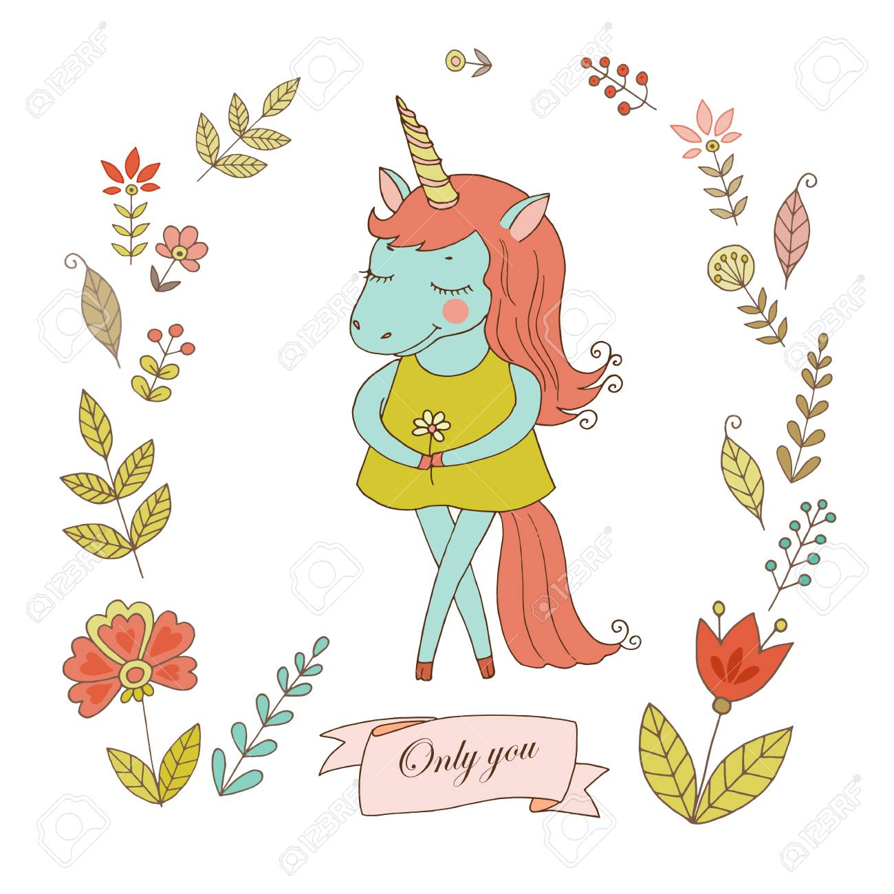 Cute Unicorn With Vintage Frame For Your Design In Doodle Style ...