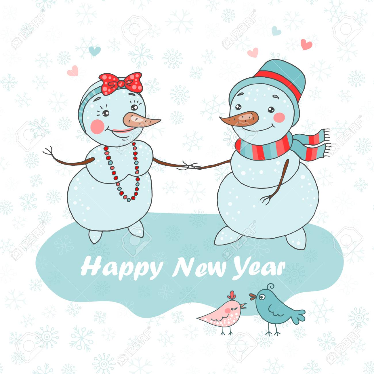 christmas greeting card with cute couple snowman birds and snowflakes stock vector 88321240