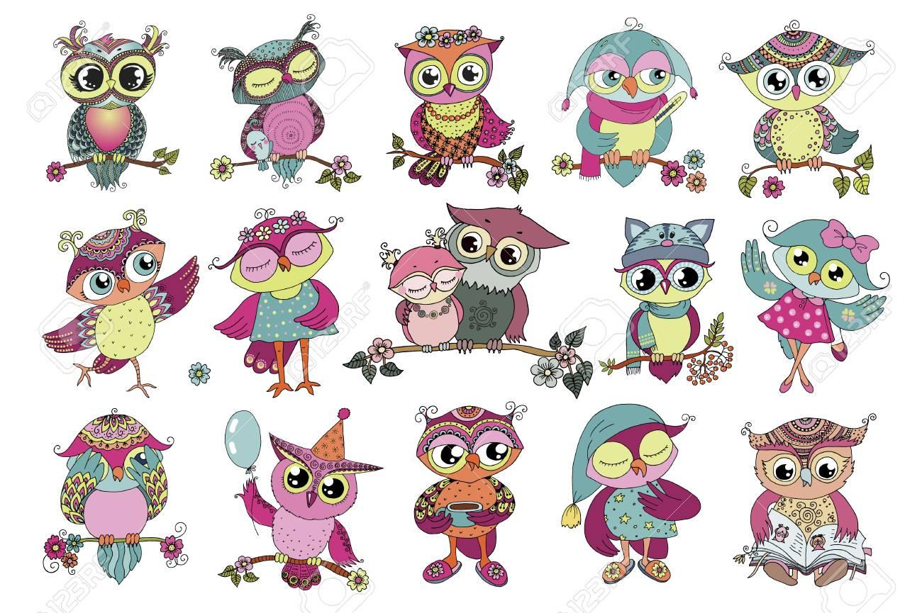 Conjunto De 16 Lindos Buhos De Dibujos Animados Coloridos