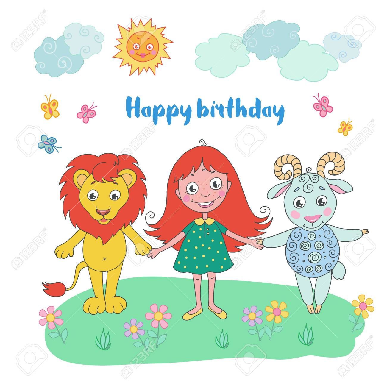 Cute Lion Girl And Sheep Can Be Used For Birthday Cards Baby