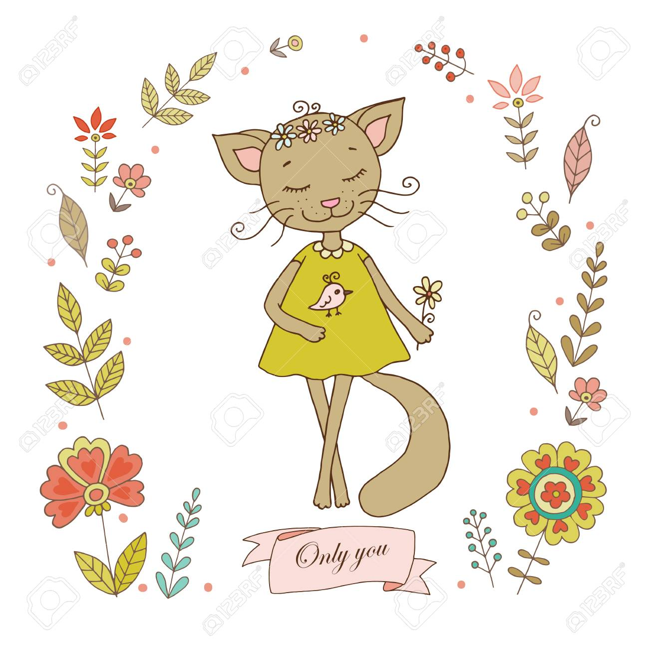 Cute Cat With Vintage Frame For Your Design In Doodle Style ...