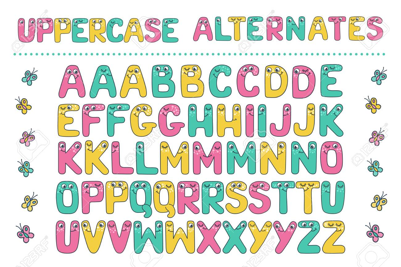 Big Set Of Cute Letters Fom Kids Alphabet With Eyes Funny Font Cartoon Vector