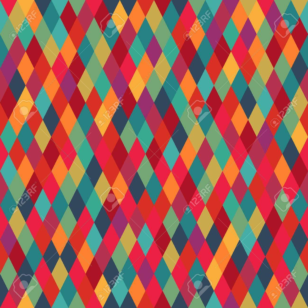 Colorful diamond tiles seamless vector pattern - 24349575