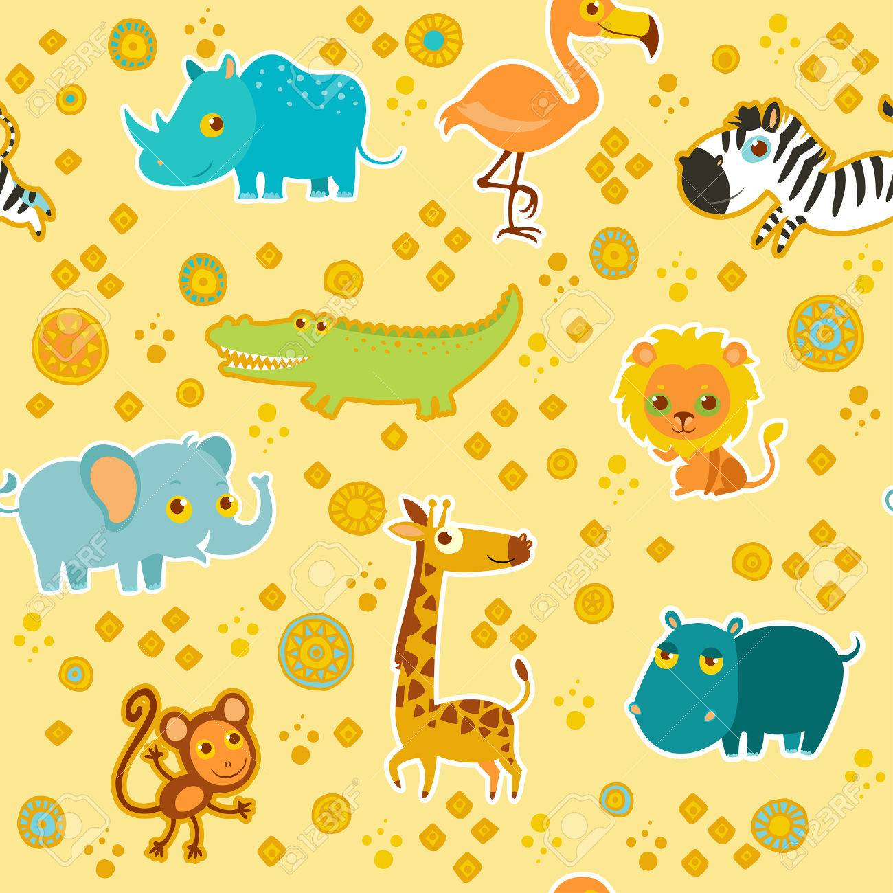 African cartoon animal vector seamless pattern. Stock Vector - 24577849