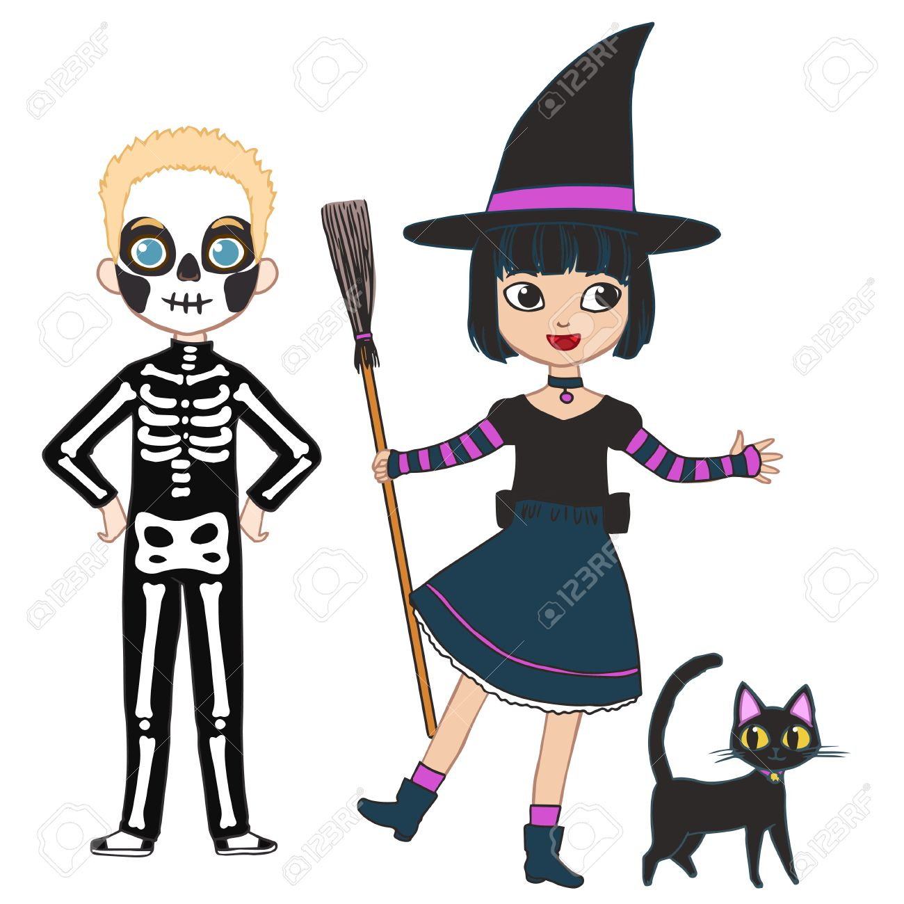 Happy Halloween Party. Set Of Cute Cartoon Children In Colorful ...