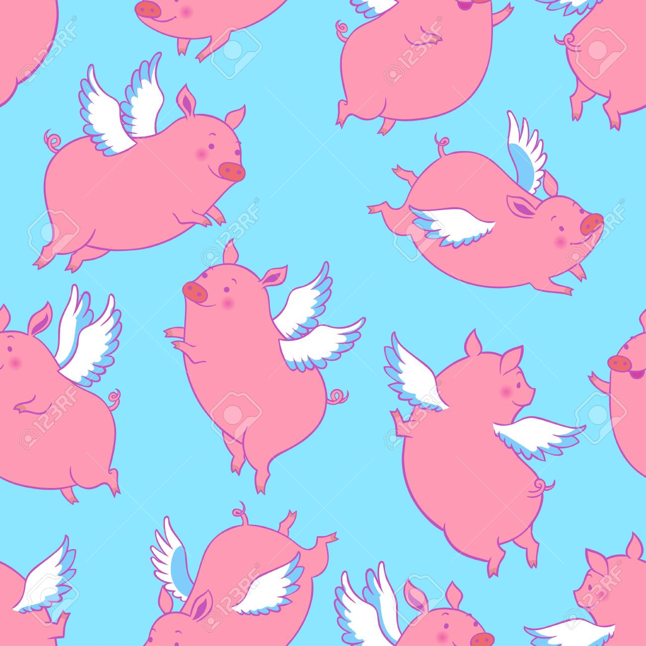 Cute flying winged piglets.Vector seamless pattern. - 112277565