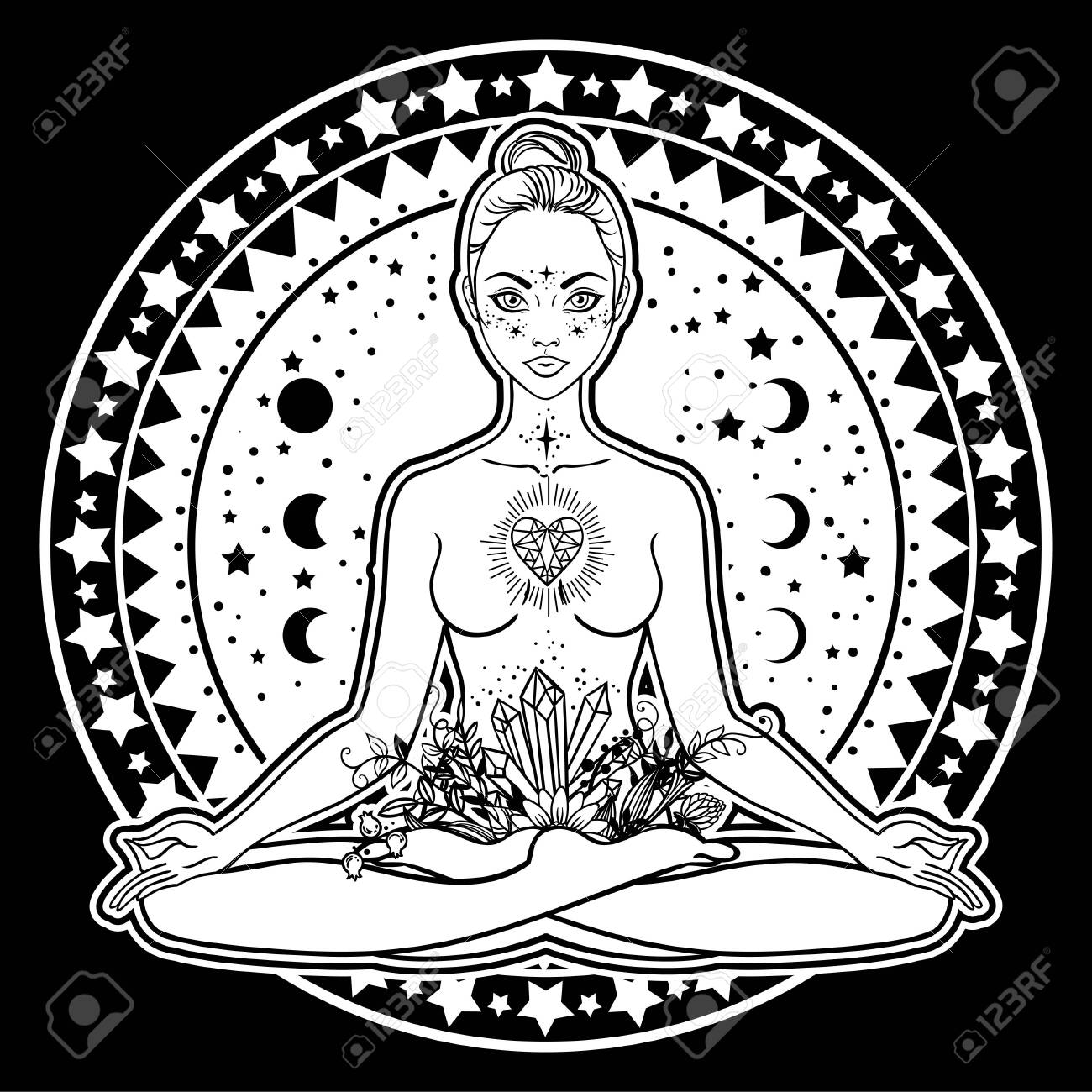 Beautiful Woman Silhouette Sitting In Lotus Pose With Flowers Royalty Free Cliparts Vectors And Stock Illustration Image 134666894