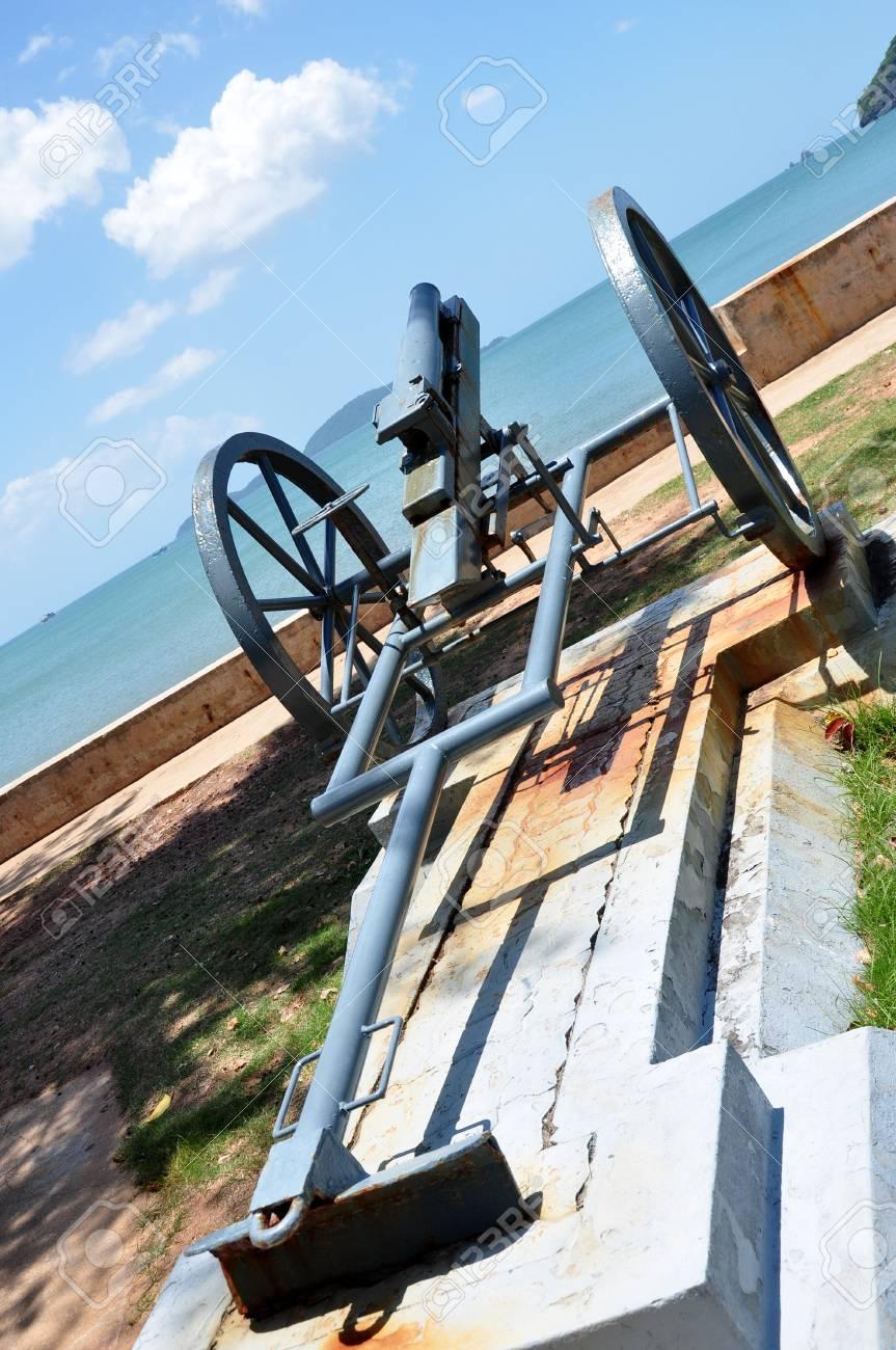 An artillery is located near the beach. Stock Photo - 14804539