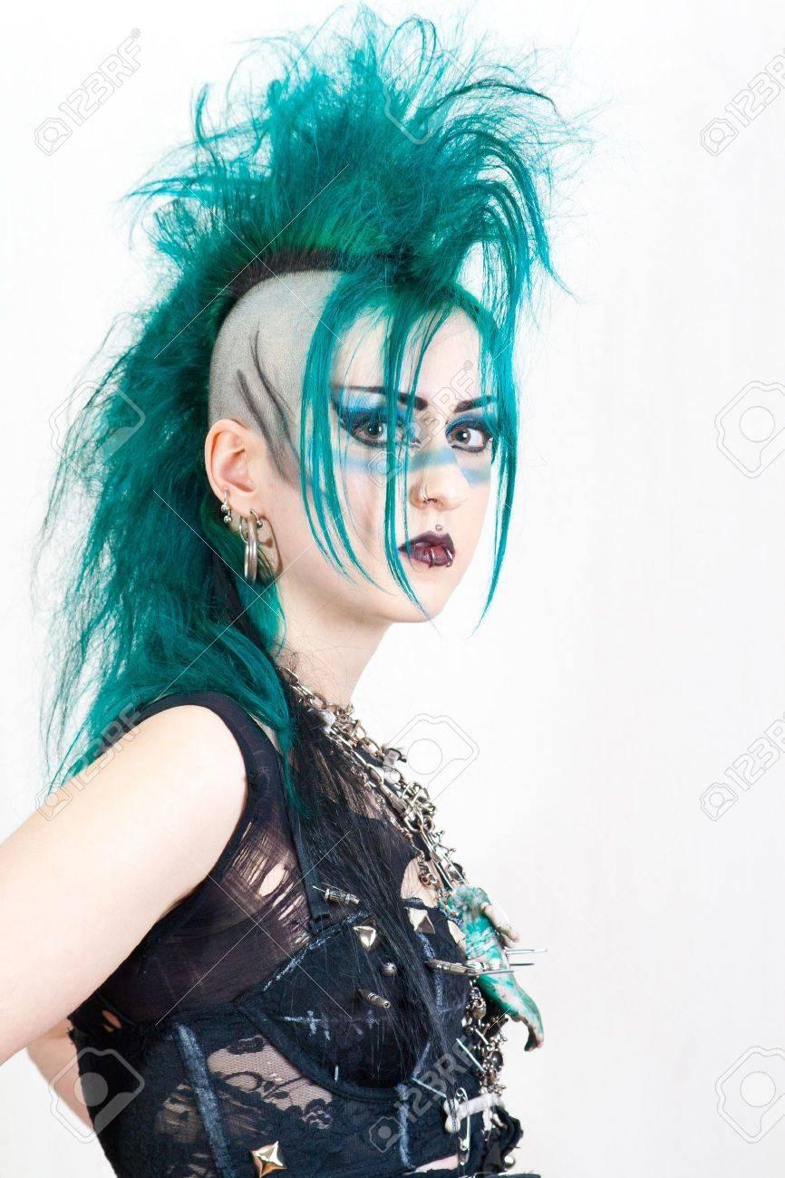 green haired postpunk girl on white background