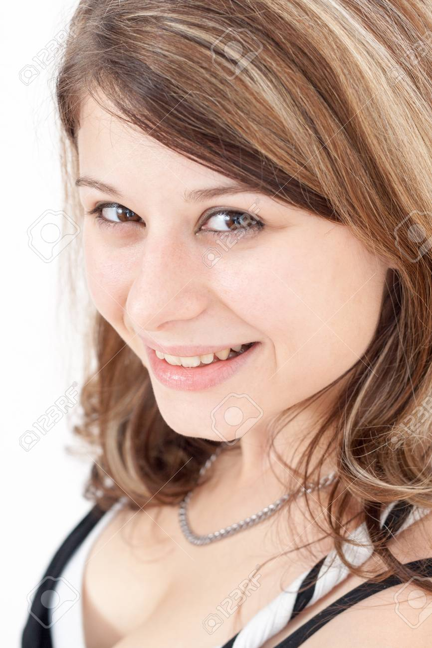 Portrait of a young brunette girl with brown eyes Stock Photo - 14768606