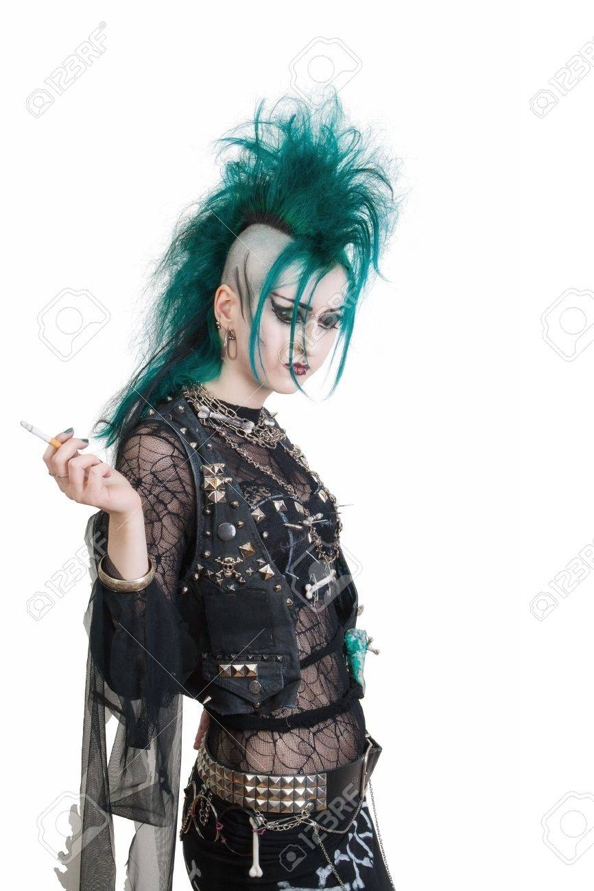 green haired postpunk girl smoking a cigarette on white background