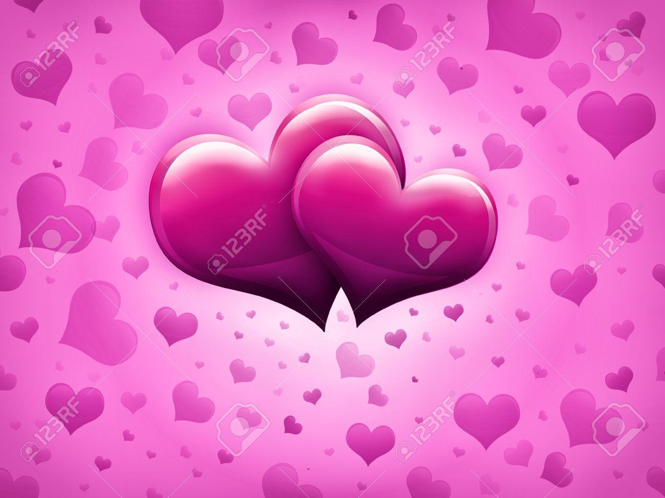 Tarjeta Del Día De San Valentín Con Dos Corazones Grandes De Color