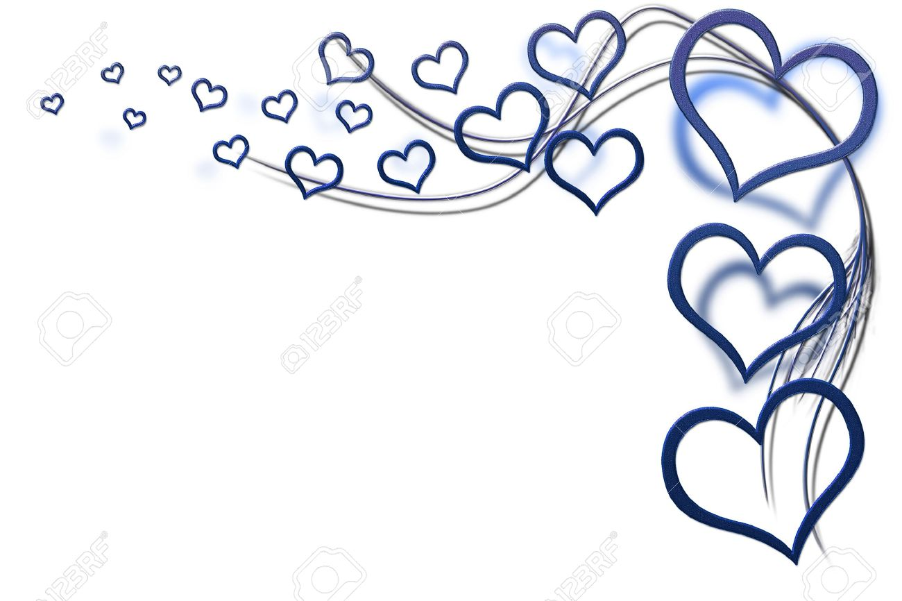 Valentines Day Background For Your Designs With Blue Hearts And ...