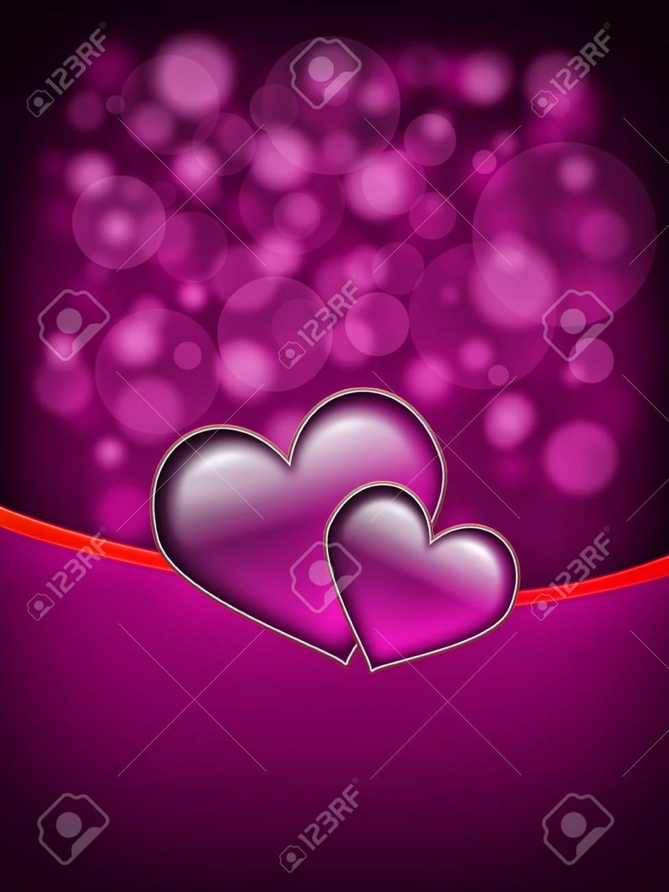 Tarjeta Del Día De San Valentín Con Dos Corazones Grandes Todo En