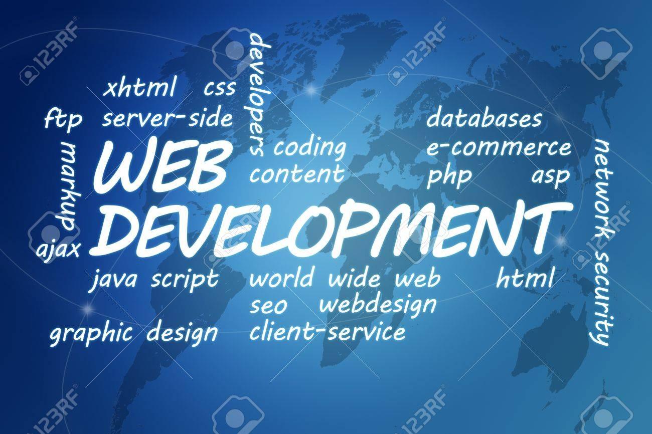 Web development concept illustration on blue background with stock illustration web development concept illustration on blue background with world map gumiabroncs Choice Image