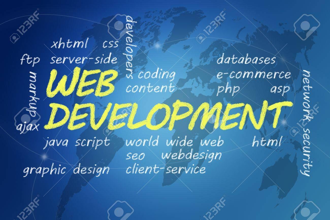 with chalk handwritten Web Development concept Illustration on blue world map background Stock Photo - 19057069