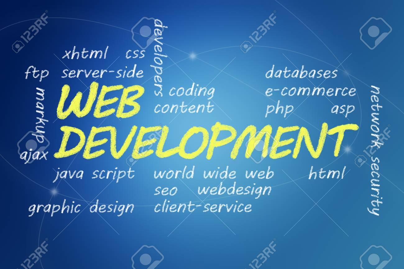 with chalk handwritten Web Development concept Illustration on blue background Stock Photo - 19057068