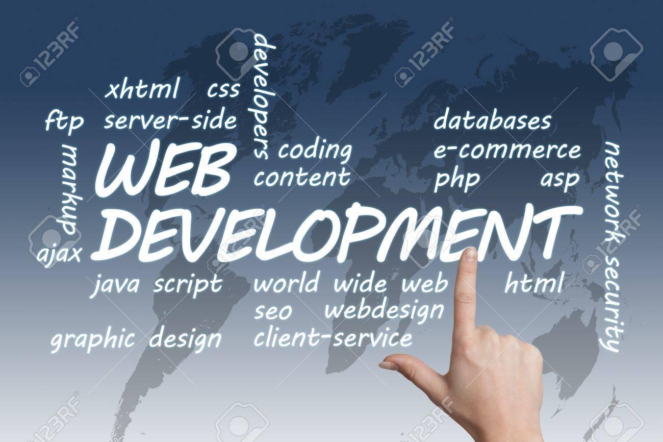 Background image xhtml - Web Development Concept Illustration On Blue White World Map Background Stock Illustration 19131584
