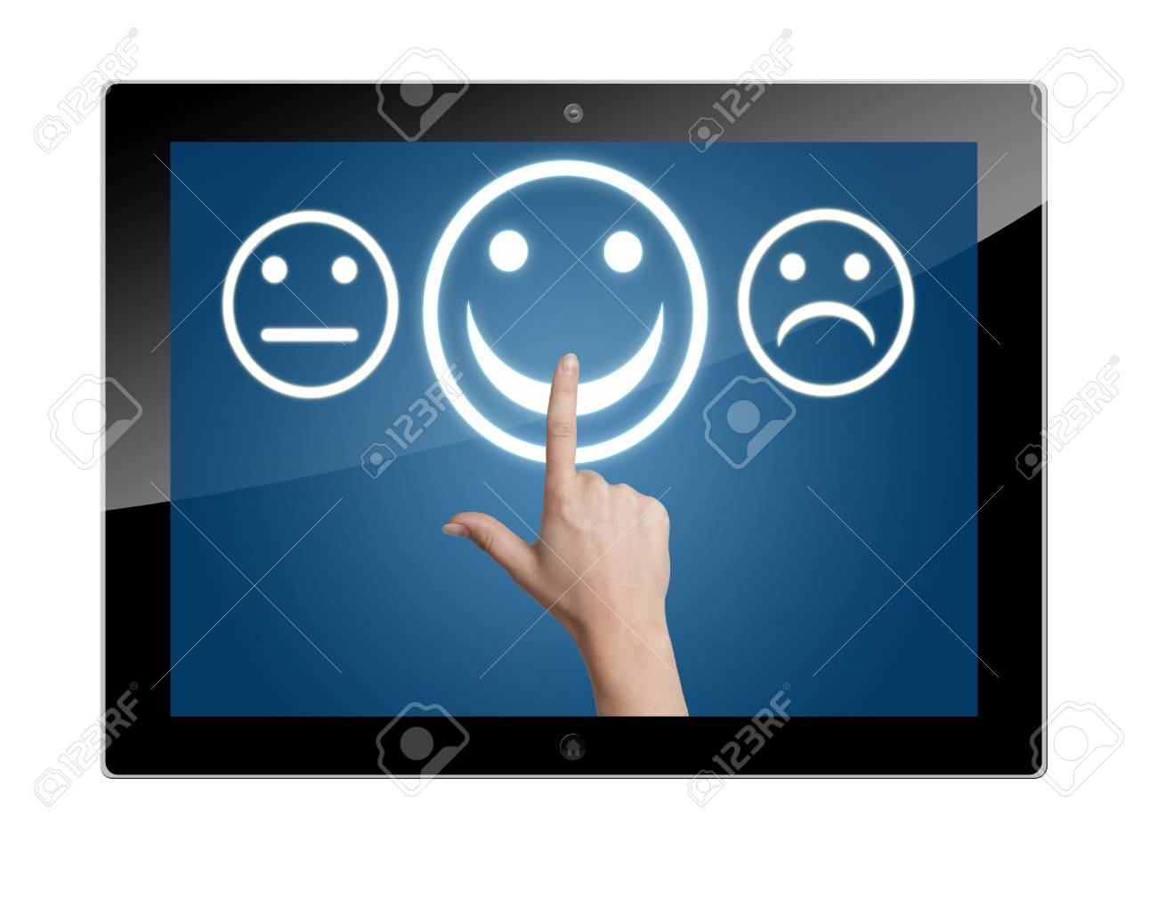 Tablet Computer with feedback rating buttons Stock Photo - 19611027
