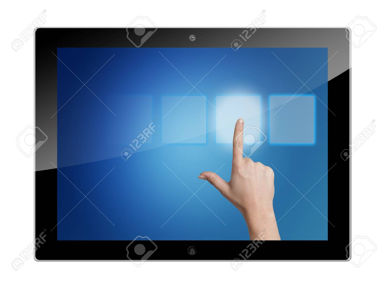 tablet pc with hand pressing a touchscreen button on blue background Stock Photo - 19804490