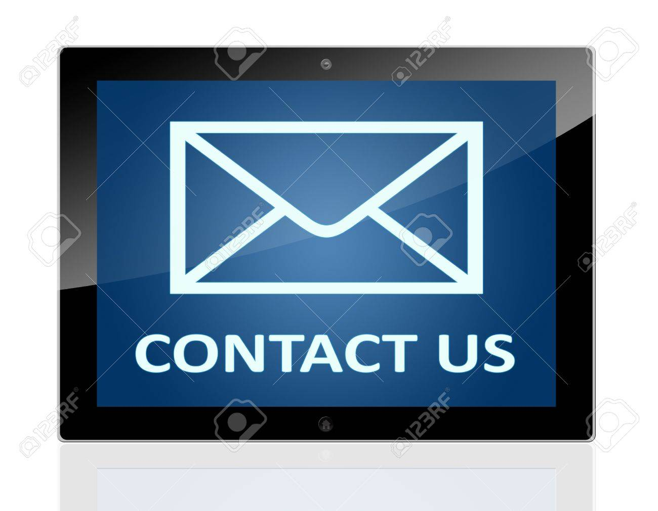 Tablet Pc With A Mail Symbol And Words Contact Us On Blue Background