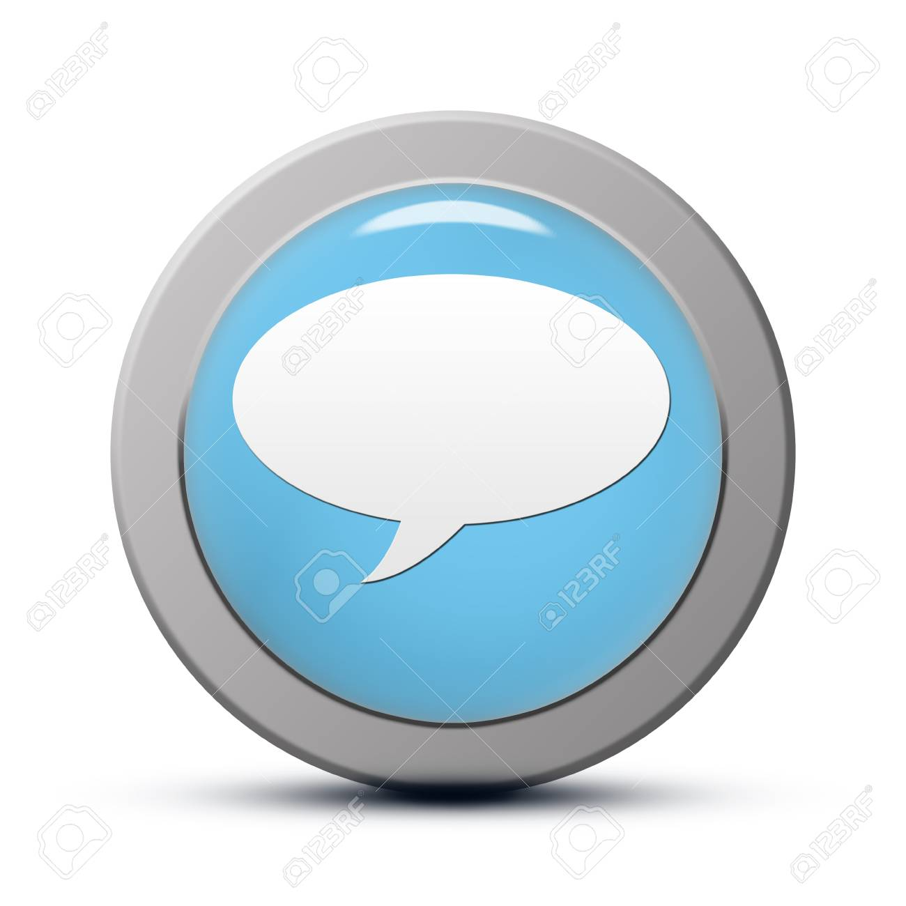 blue round Icon series : chat button Stock Photo - 20010535
