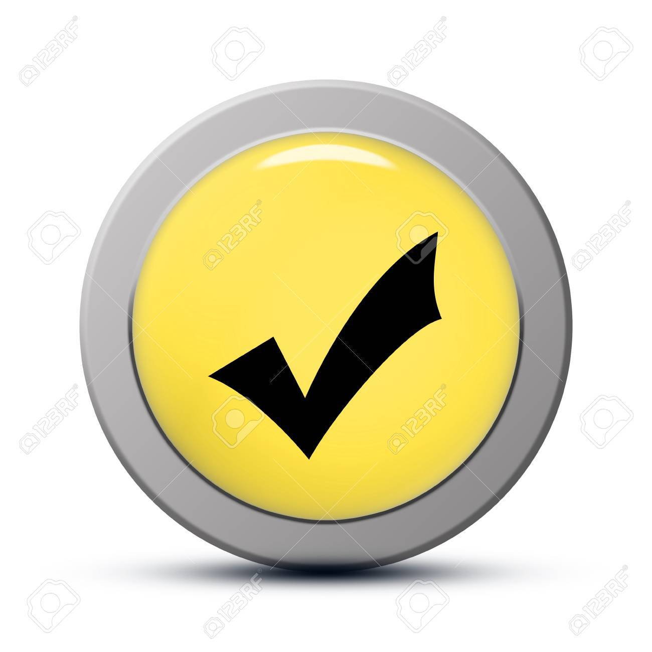 yellow round Icon series : Validate button Stock Photo - 20010591