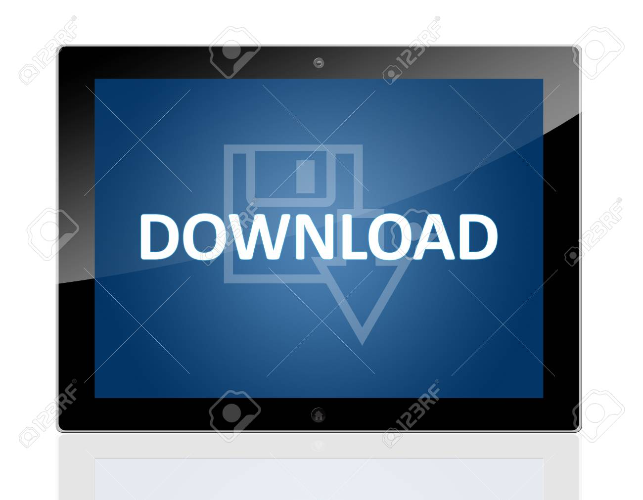 Tablet PC with a Disk Icon and word Download on blue background - isolated on white background Stock Photo - 20010697