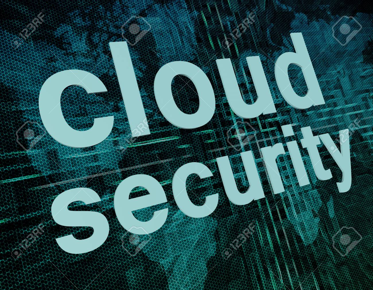 Cloud computing technology, networking concept: words cloud security on digital world map screen. Stock Photo - 20280207