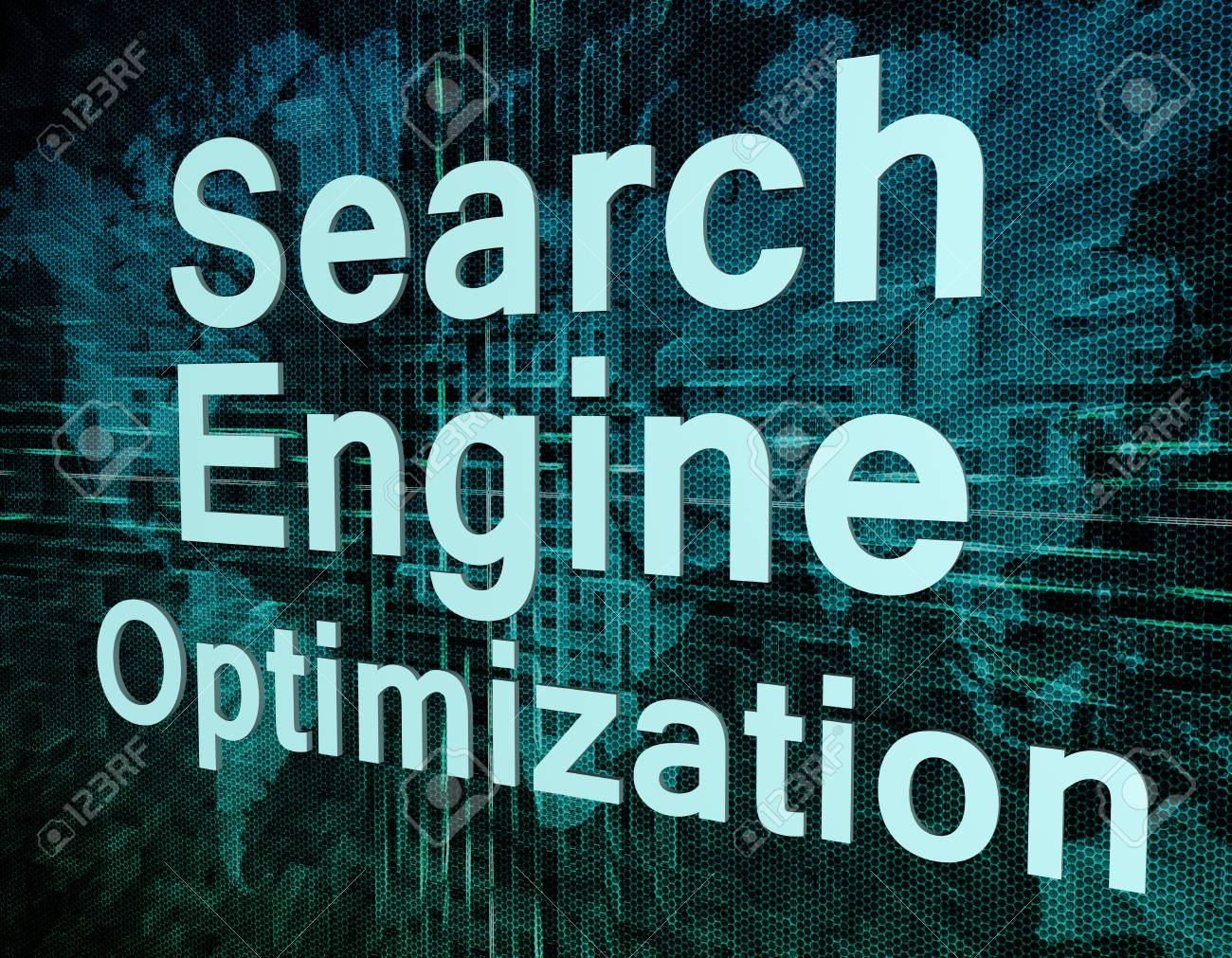 Words on digital world map concept: Search Engine Optimization Stock Photo - 21128407