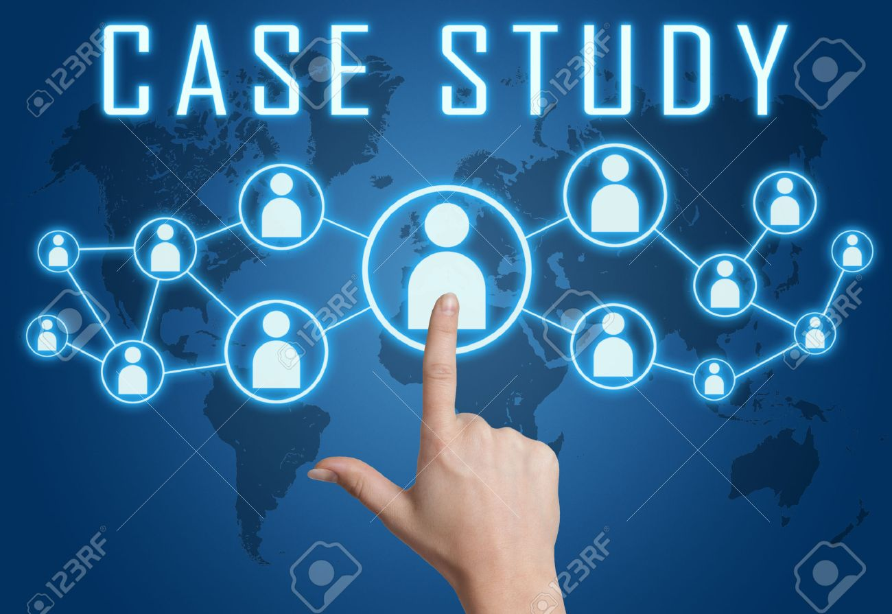 Case Study concept with hand pressing social icons on blue world map background. - 29515201