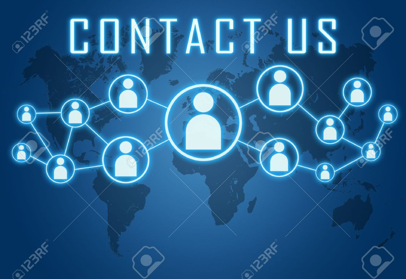 Contact us concept on blue background with world map and social icons. - 29515236