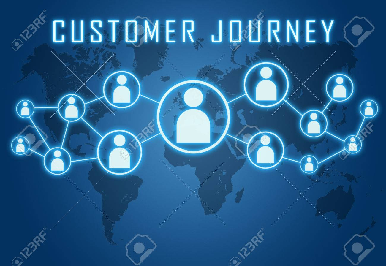Customer Journey concept on blue background with world map and social icons. - 29515271