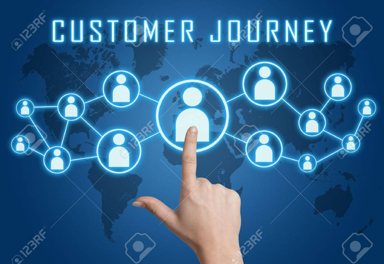 Customer Journey concept with hand pressing social icons on blue world map background. - 29731537