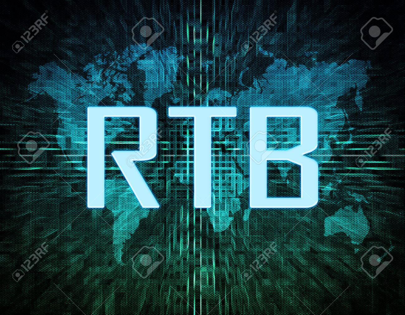 Rtb Real Time Bidding Text Concept On Green Digital World Map