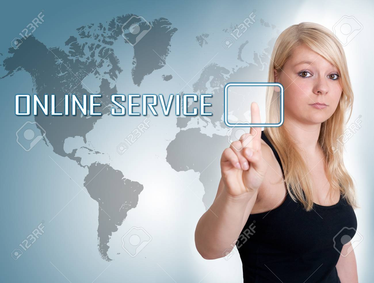 Young woman press digital Online Service button on interface in front of her Stock Photo - 30349726