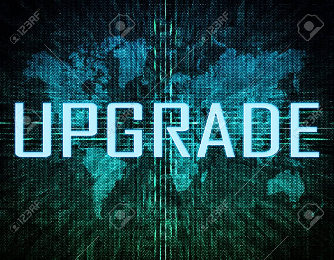 Upgrade text concept on green digital world map background stock stock photo upgrade text concept on green digital world map background gumiabroncs Images