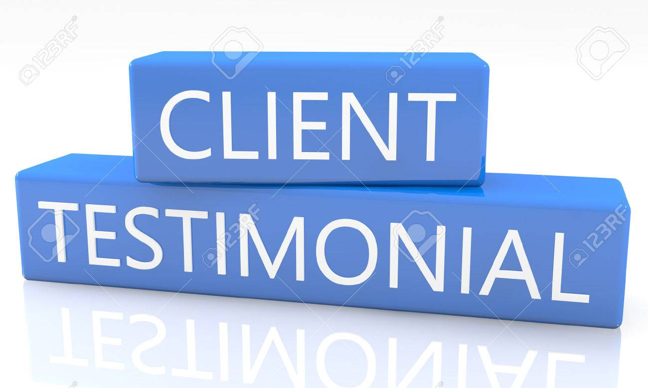 3d render blue box with text Client Testimonial on it on white background with reflection - 30659640