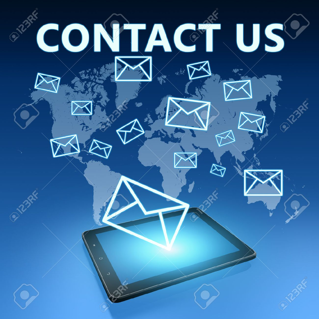 Contact us illustration with tablet computer on blue background - 31829184