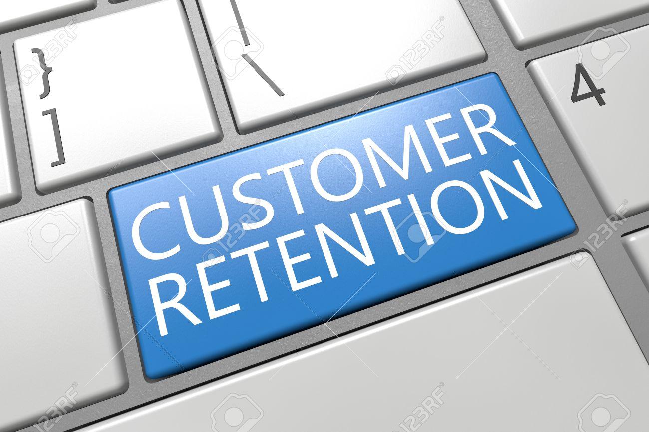 Customer Retention - keyboard 3d render illustration with word on blue key - 32214716