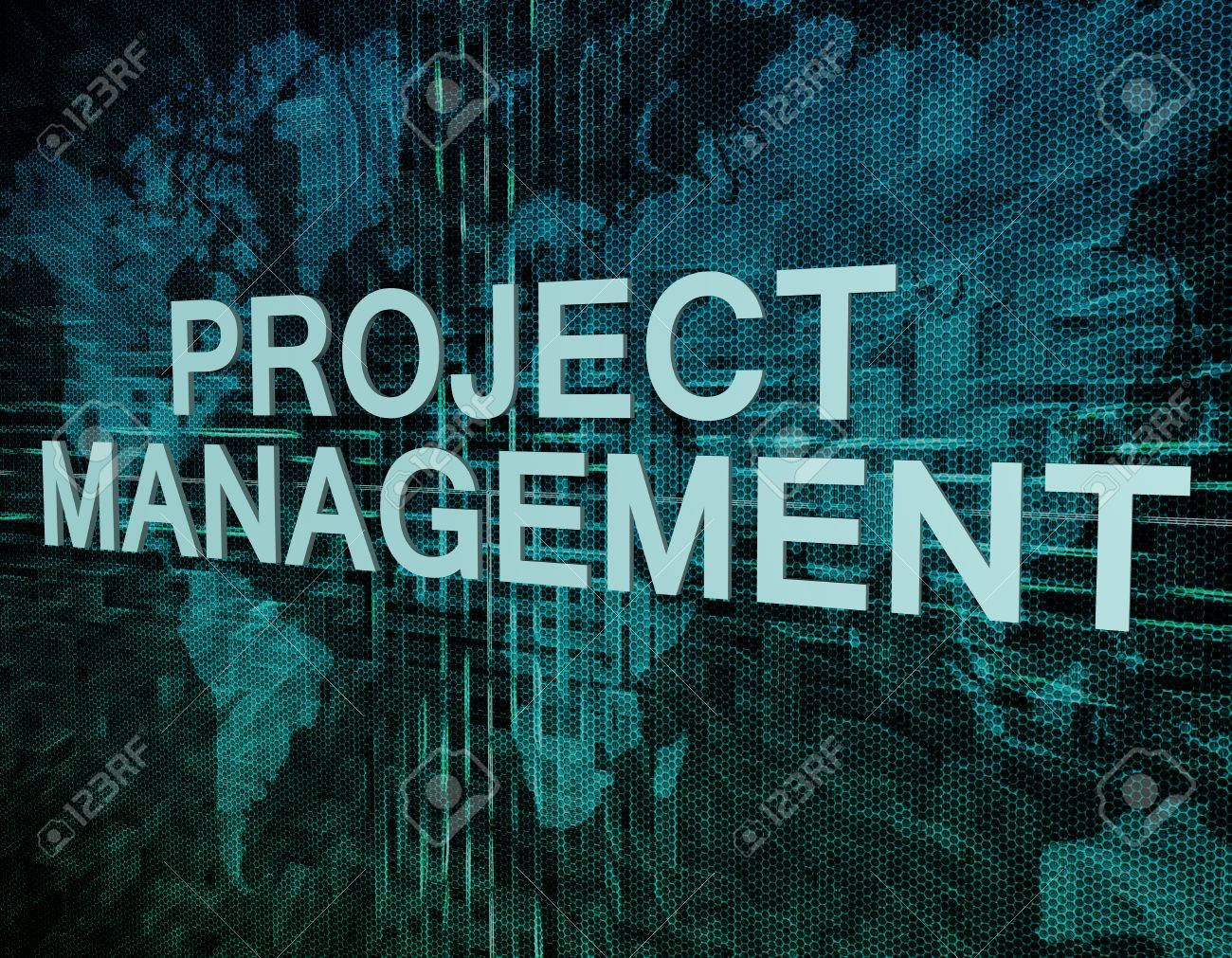 Project Management text concept on green digital world map background - 33343265