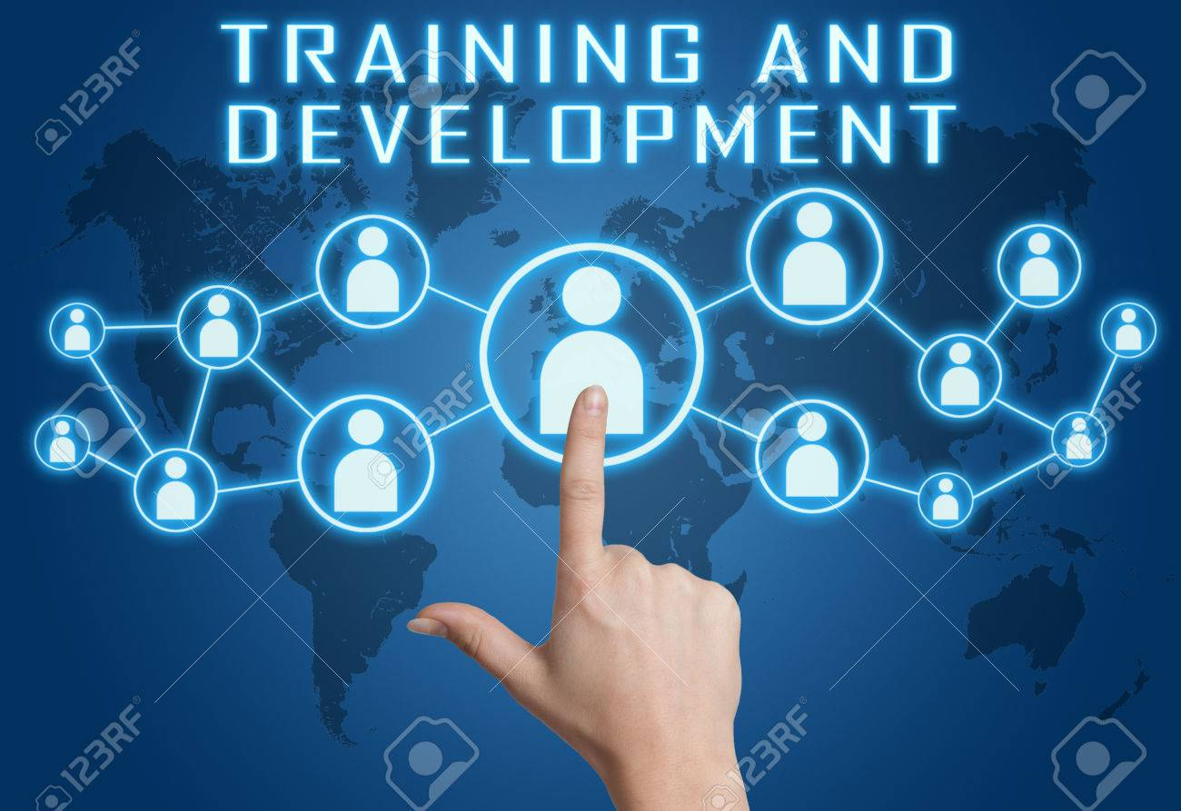 Training and Development concept with hand pressing social icons on blue world map background. - 33665099
