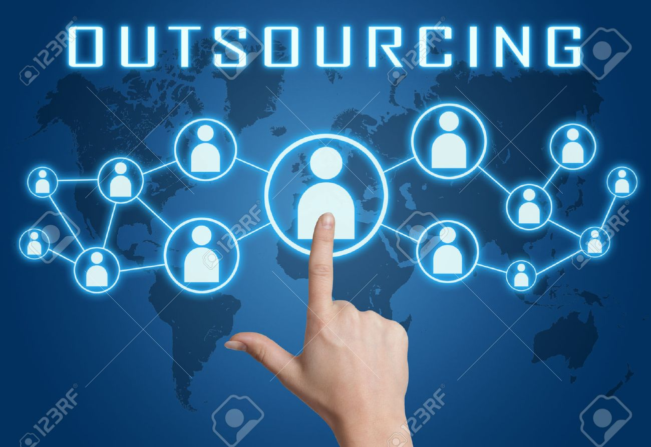Outsourcing concept with hand pressing social icons on blue world map background. - 34122404