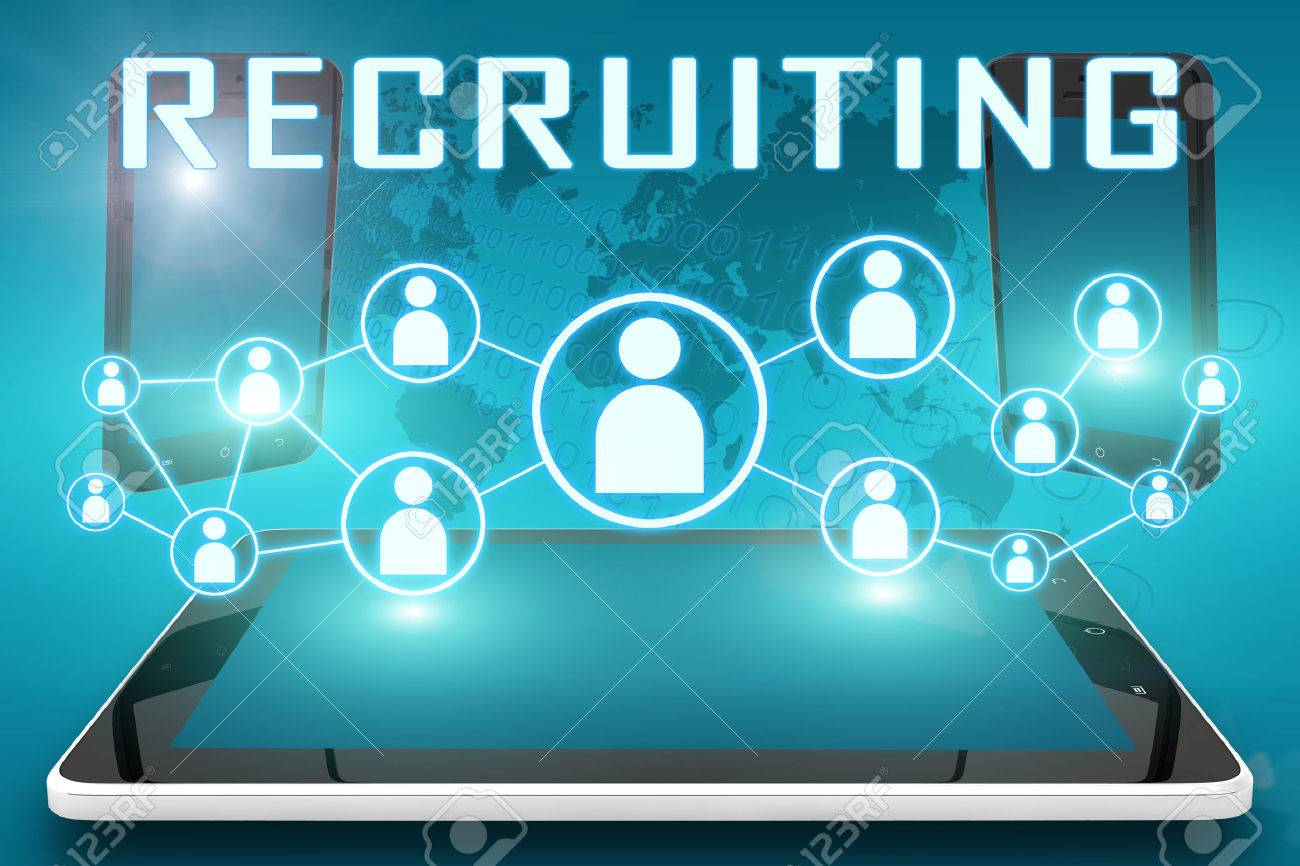 Recruiting - text illustration with social icons and tablet computer and mobile cellphones on cyan digital world map background - 34330136