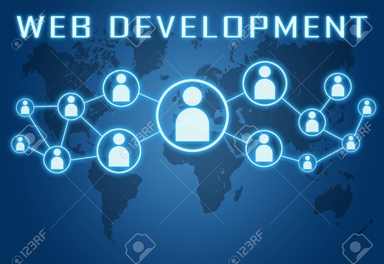 Web development concept on blue background with world map and stock photo web development concept on blue background with world map and social icons gumiabroncs Choice Image